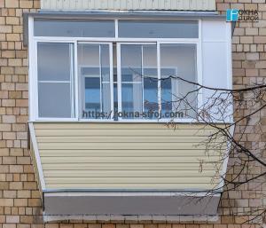 Внешняя отделка выносного балкона сайдингом (сталинский дом)
